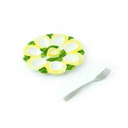 Okrúhly žltý tanier na vajíčka