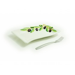 Vlnitý hranatý tanier olivy