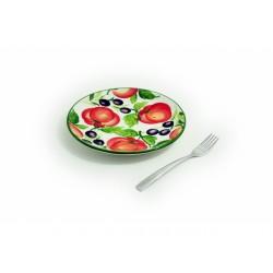 Plochý tanier paradajky olivy